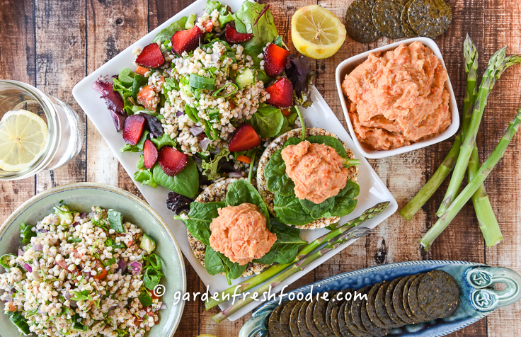 Oil Free Roasted red pepper hummus with Buckwheat Tabbouleh